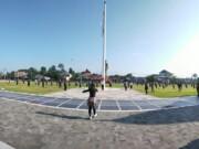Senam massal digelar di Alon-alon Pemkab Blitar (Robby / Mattanews.co)