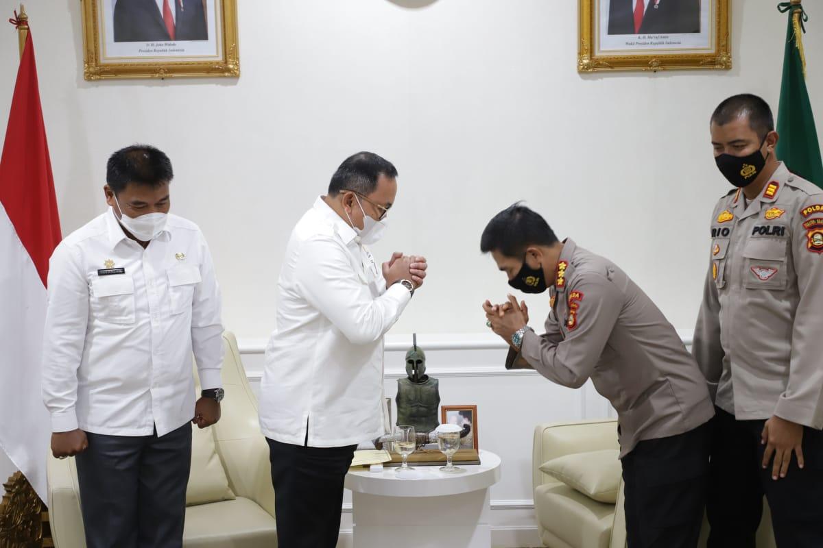 Bupati Musi Banyuasin Dr H Dodi Reza Alex Noerdin menyambut kunjungan Kepala Sekolah Polisi Negara (SPN) Betung Polda Sumatera Selatan ke Bumi Serasan Sekate