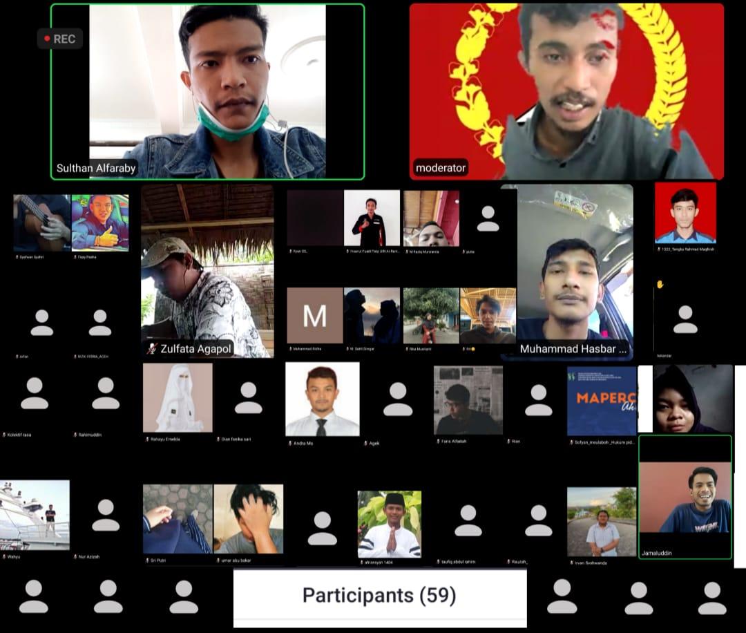 """kegiatan diskusi publik bertema """"Dana Hibah Covid untuk Membungkam Gerakan Mahasiswa Aceh"""" yang dilakukan secara daring."""