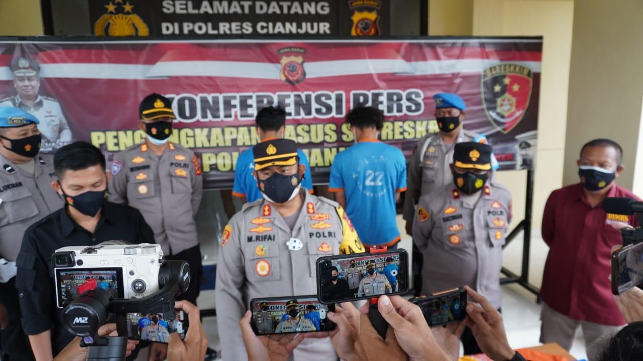 Rilis ungkap kasus pembacokan di Cianjur.