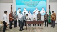 Penandatanganan kontrak pembangunan Sistem Penyediaan Air Minum (SPAM) Regional Medan Binjai Deli Serdang (Mebidang) berkapasitas 1.100 Liter per detik, dilakukan Gubernur Sumut Edy Rahmayadi (Tison / Mattanews.co)