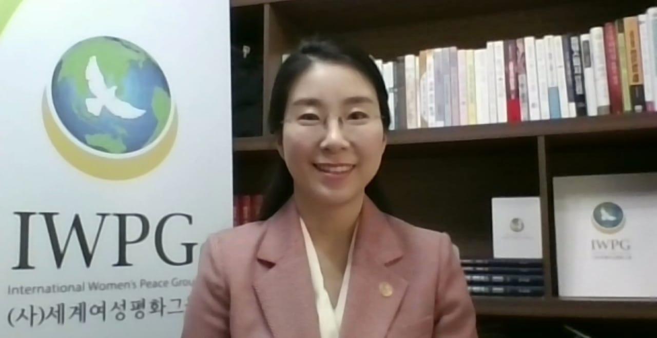 """Pimpinan Grup Perdamaian Wanita Internasional (IWPG) Hyun Sook Yoon memberikan pidato pembukaannya di """"Pertemuan Umum Tahunan Cabang Internasional ke-4 IWPG"""