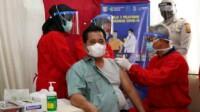 Bupati Banyuasin Askolani Jasi mengikuti vaksinasi Covid-19 tahap dua (Dok. Humas Pemkab Banyuasin / Mattanews.co)