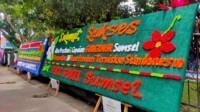 Papan ucapan dari organisasi mahasiswa atas capaian Sumsel masuk 10 provinsi termiskin di Indonesia (Nefri / Mattanews.co)