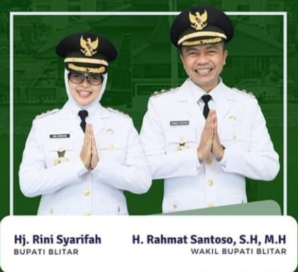 Bupati-Wabup Blitar Rini Syarifah - Rahmat Santoso (Dok. Humas Pemkab Blitar / Mattanews.co)