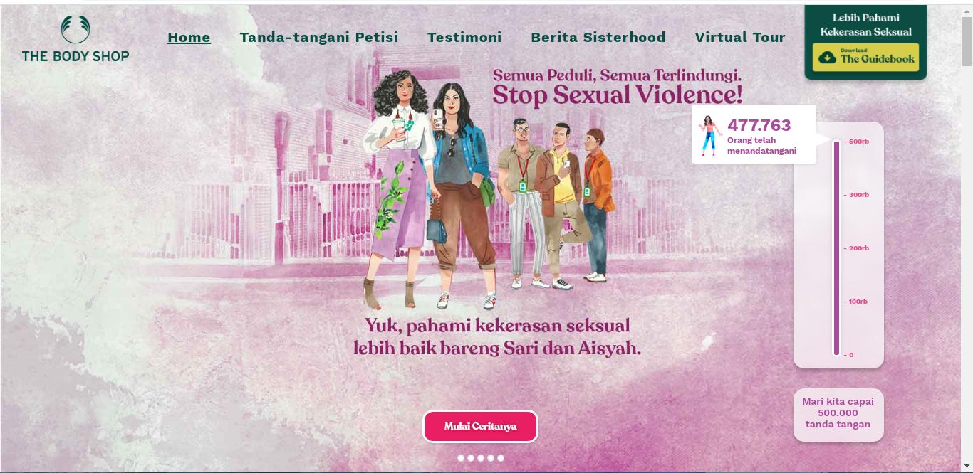 pengumpulan petisi di https://www.tbsfightforsisterhood.co.id/ . Petisi TBS Fight For Sisterhood 500,000 tanda tangan petisi Stop Sexual Violence dilakukan sampai bulan Maret 2021 agar RUU PKS segera diputus menjadi undang-undang yang sah.