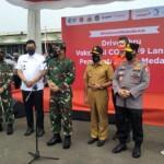 Pembukaan Drive Thru Vaksin di Lanud Soewondo Medan Sumut (Tison Sembiring / Mattanews.co)