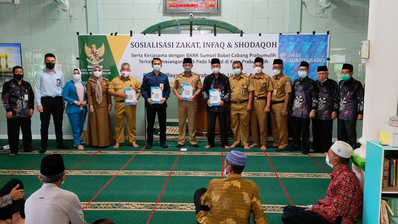 Bank Sumsel Babel (BSB) kota Prabumulih bekerjasama dengan Badan Amil Zakat Nasional (Baznas) kota Prabumulih melakukan sosialisasi sistem pembayaran non tunai (Q-RIS)