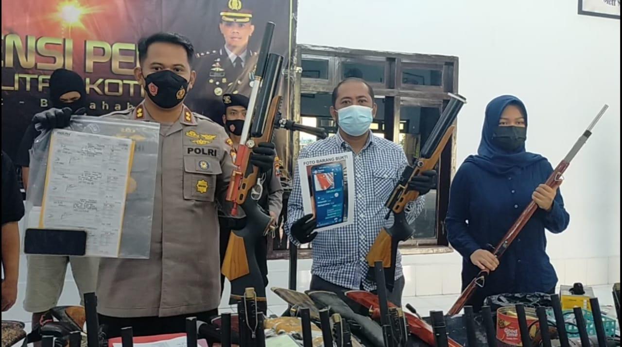 Polres Blitar menyita senjata angin rakitan yang diproduksi di Kabupaten Blitar Jatim (Robby / Mattanews.co)